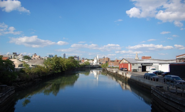 The Gowanus Canal, Brooklyn.  Once called the Gowanus Creek, a number of Dutch mills lined its shore.  Today, it is one of the most polluted waterways in the country